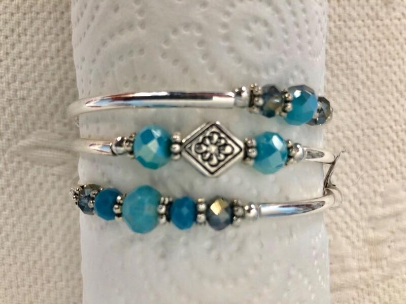 Blue stone memory wire bracelet
