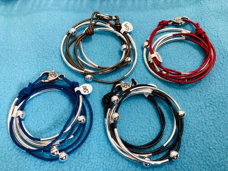 Triple wrap leather bracelet