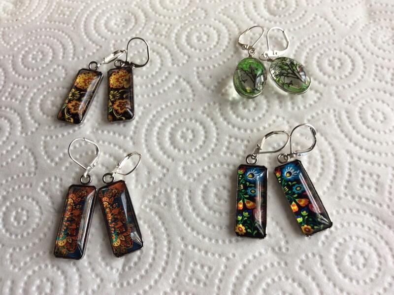 Italian floral print earrings