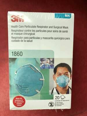 3M 1860 N95 Medical Particulate Healthcare Respirator 20pc