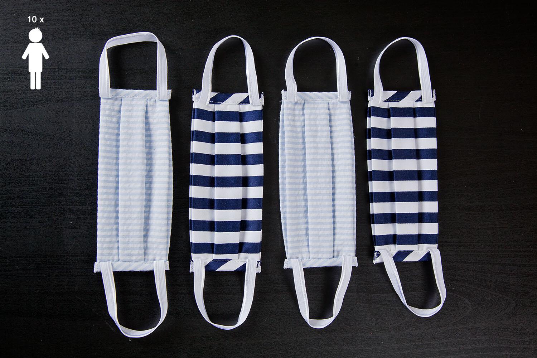 N. 10 Mascherine lavabili in cotone   Colori assortiti BAMBINO