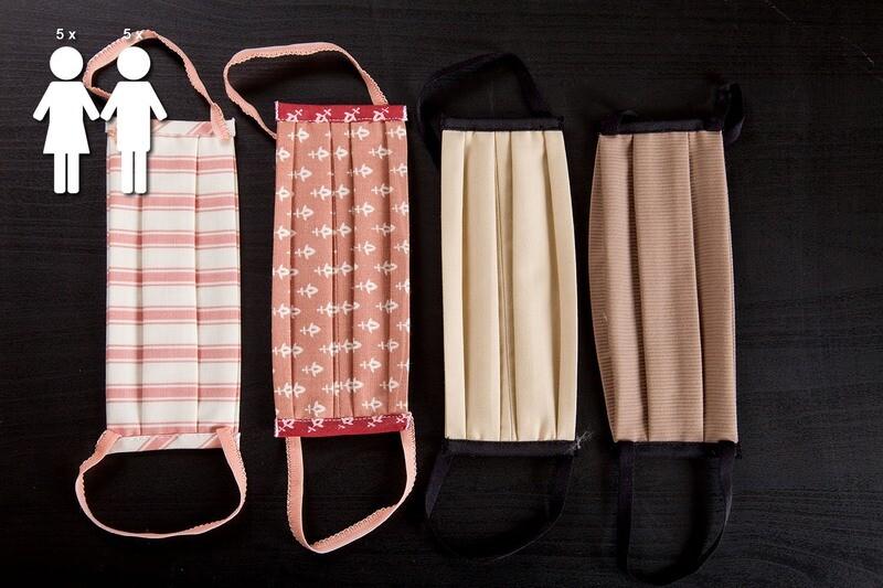 N. 10 Mascherine lavabili in cotone | colori assortiti N. 5 DONNA + N. 5 UOMO