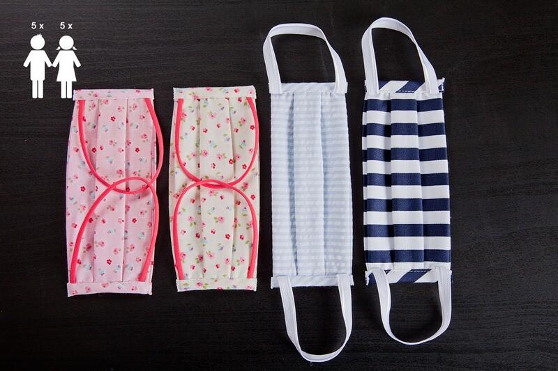 N. 10 Mascherine lavabili in cotone | colori assortiti N. 5 BAMBINA + N. 5 BAMBINO