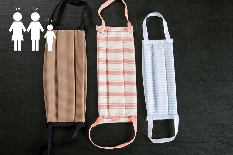 N. 10 Mascherine lavabili in cotone | N. 3 DONNA + N. 3 UOMO + N. 4 BAMBINO