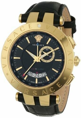 VERSACE Uhr Herren V-Race VLC02 0014 gold-Edelstahl mit schwarzem Lederband