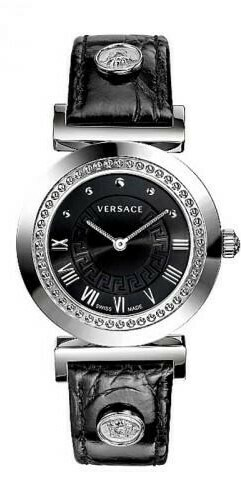 VERSACE Uhr Damen P5Q99D009 S009 Silber-Edelstahl mit Lederarmband in schwarz