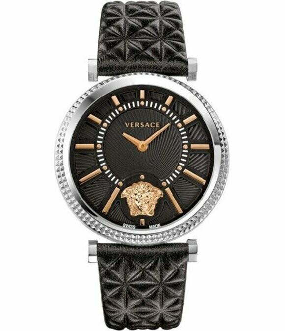 VERSACE Uhr Helix VQG02 0015 silber-Edelstahl mit schwarzem Lederband