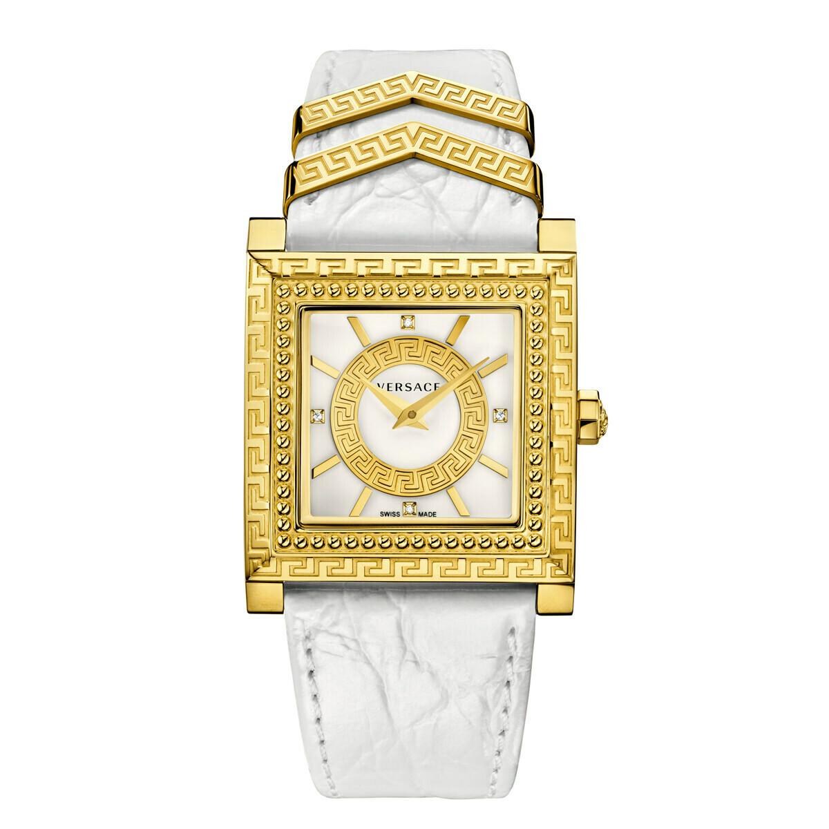 VERSACE Uhr Damen VQF01 0015 Gold-Edelstahl mit Lederarmband weiß