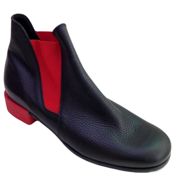 arche Chelsea Boots  – Twitic Leder schwarz mit rot