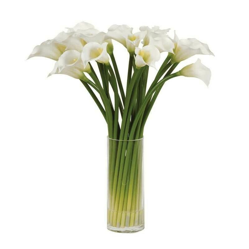 White Calla Lilies in Glass - Medium