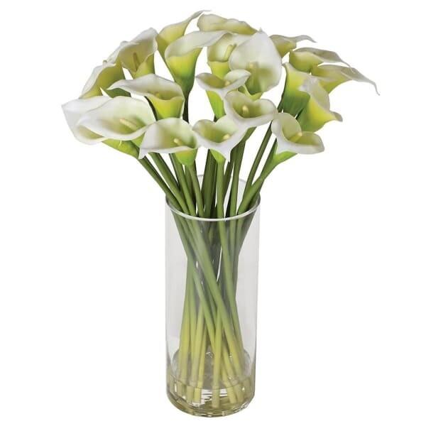White Calla Lilies in Glass - Small