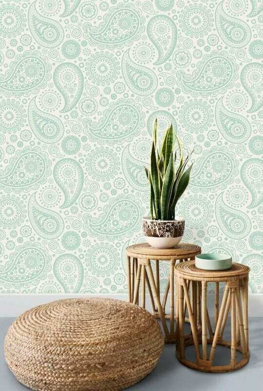 Paisley Crescent Pale Verdigris Wallpaper