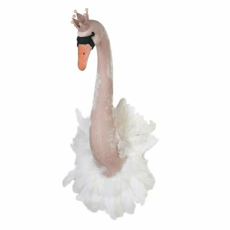 Furry Swan Head Wall Mount - Blush Pink