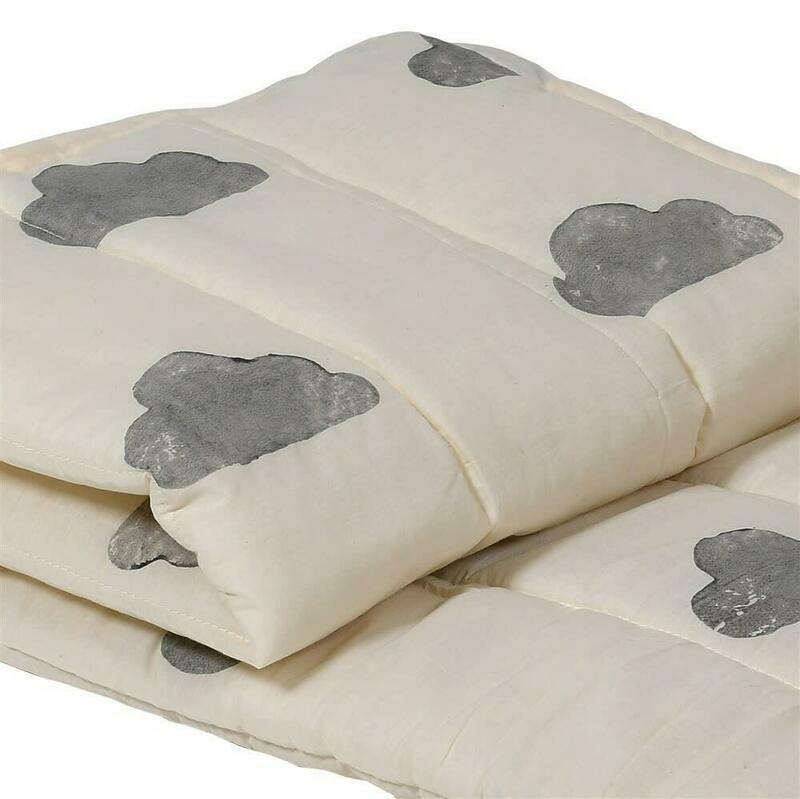 Grey Block Print Cloud Bedspread