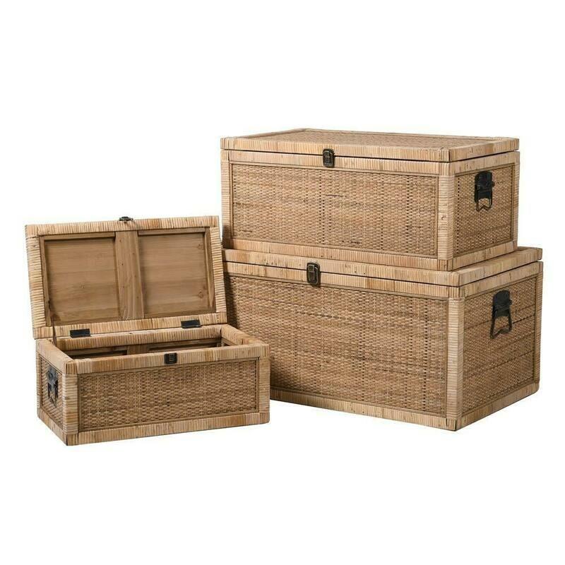 Three Rattan Trunks- Set of 3