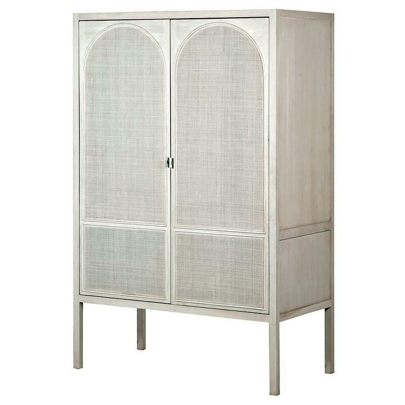 White Wash Rattan Wardrobe