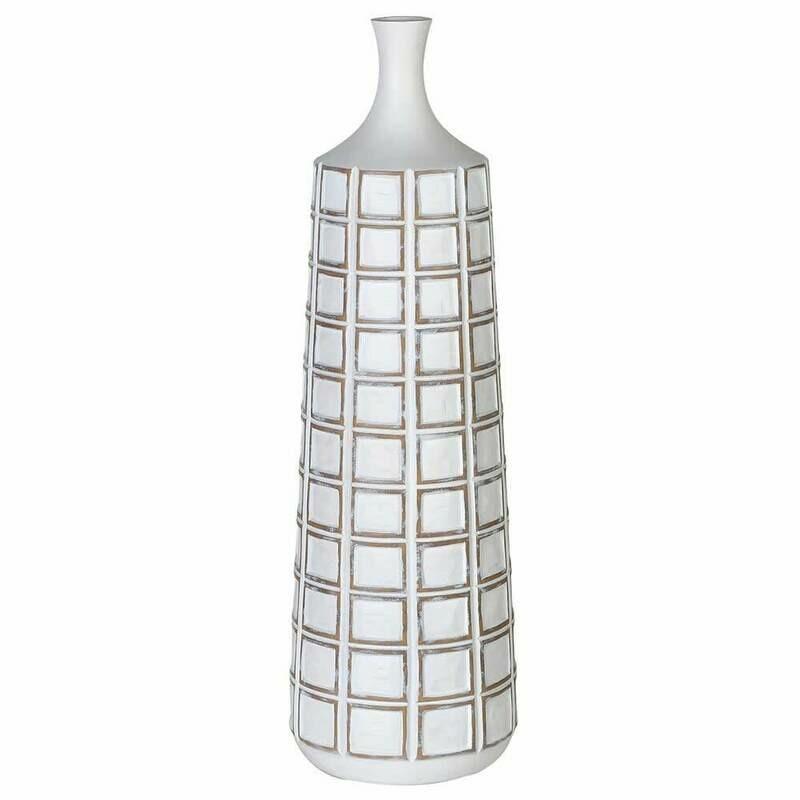 White Washed Squares Vase