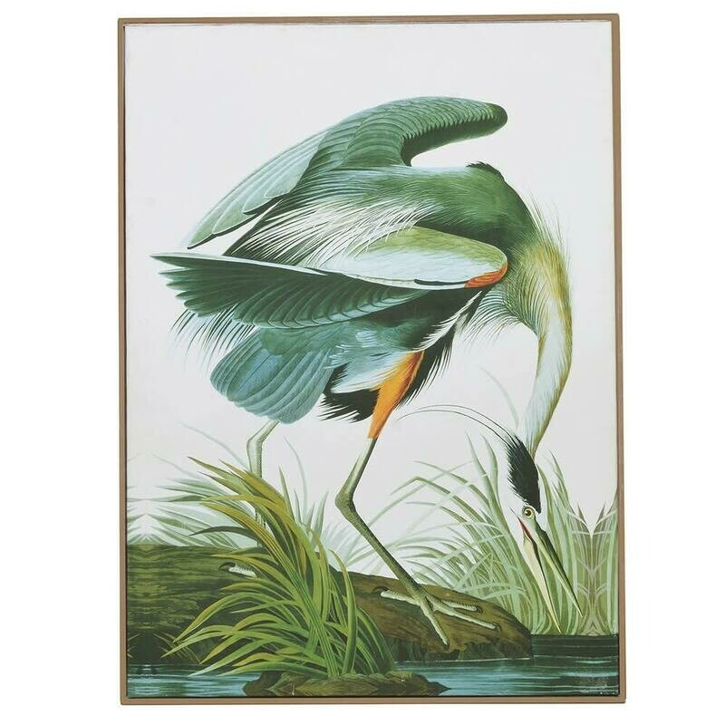 Green Tropical Crane Canvas