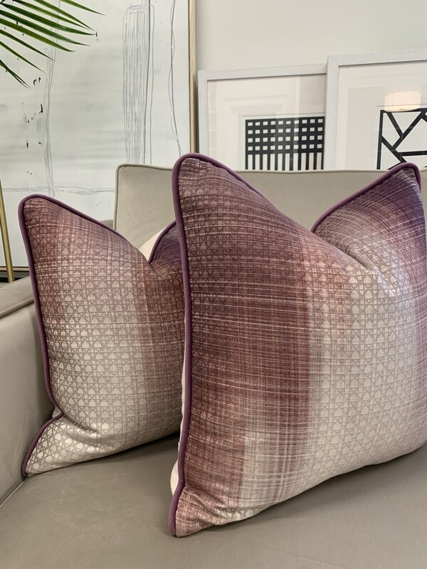 Purple Geometric Custom Cushions (Pair)