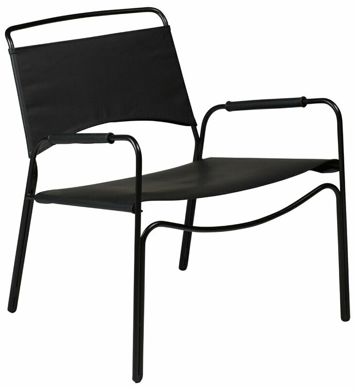 Paz Black Leather Lounge Chair
