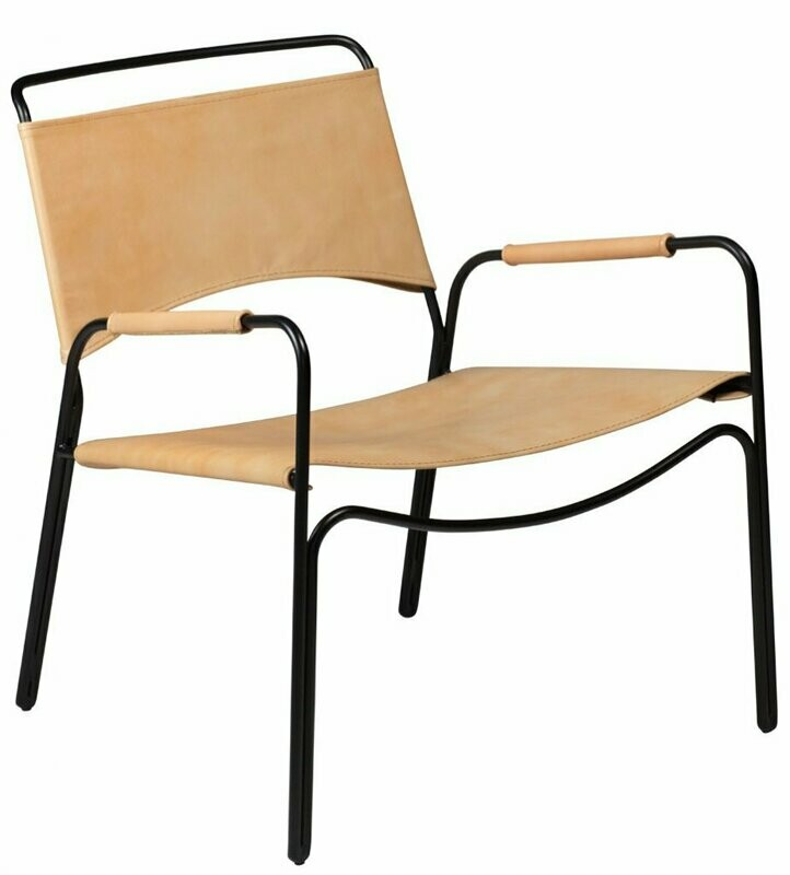 Paz Tan Leather Lounge Chair