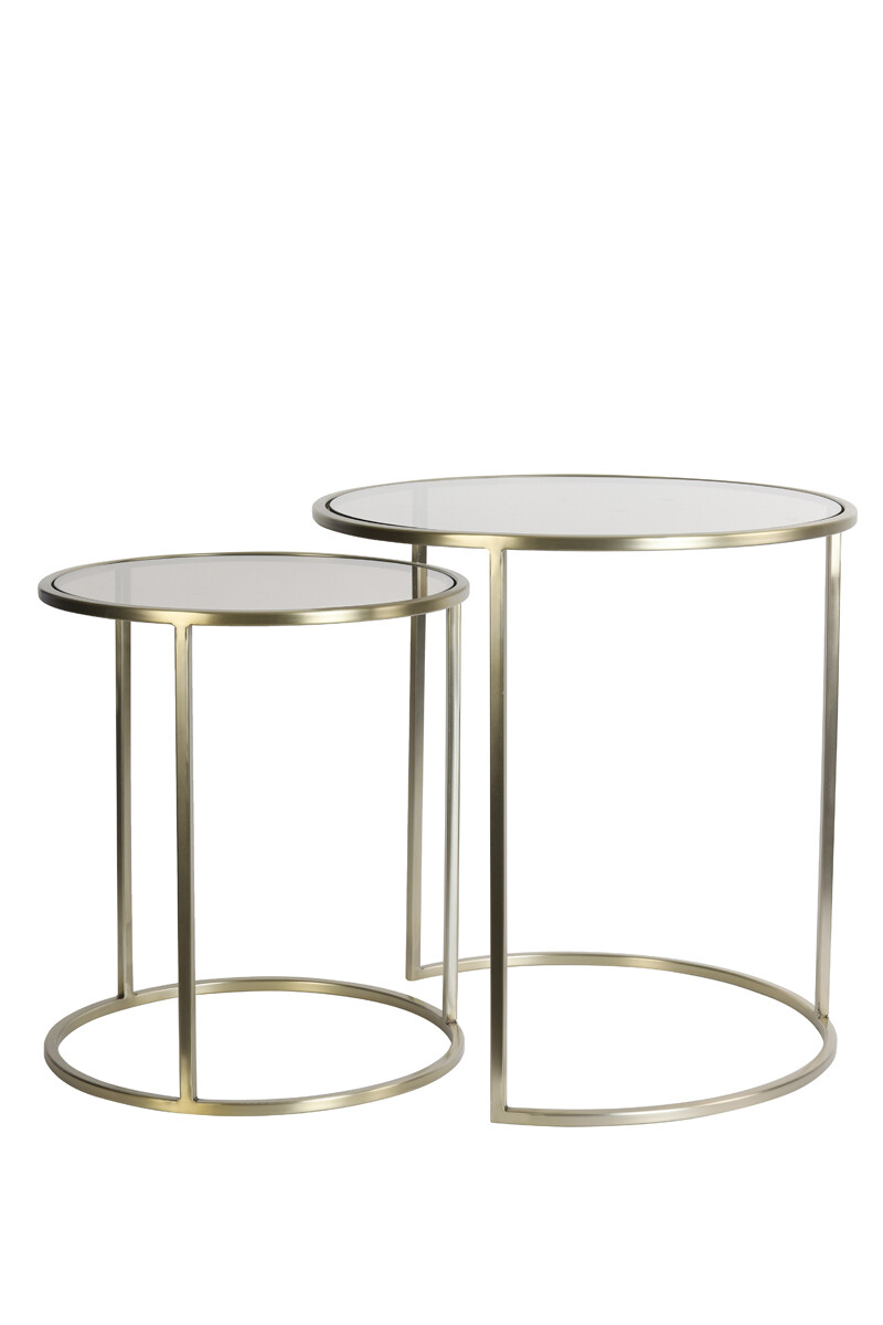 Bonnie Gold Brown Glass Coffee Table Set