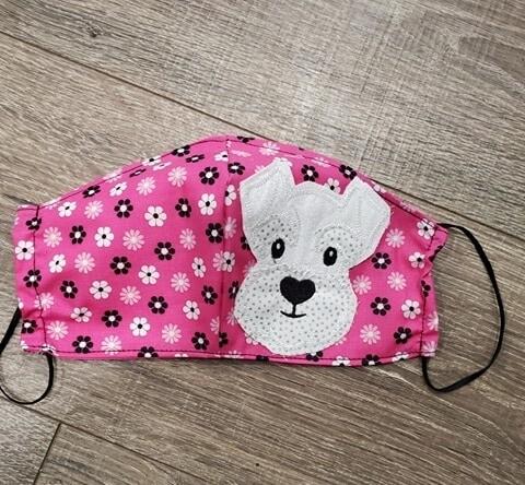 Applique Schnauzer on Pink Flower Mask