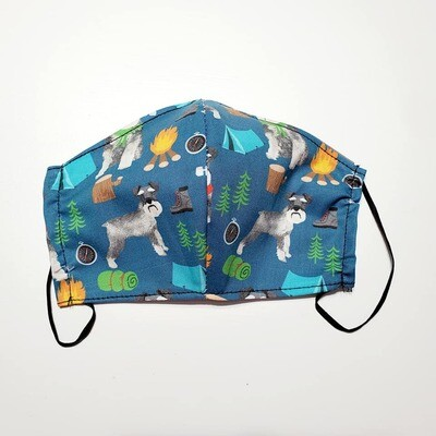 Camping  Schnauzer Face Mask