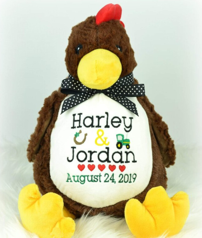 Chicken Stuffed Animal with Custom Embroidery.