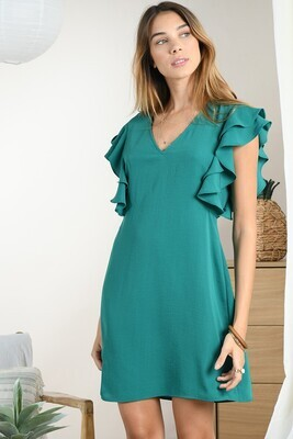 green cap sleeve dress