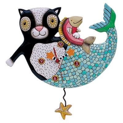 Mermaid Cat Clock
