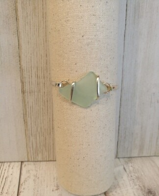 Sea glass bracelet in light teal