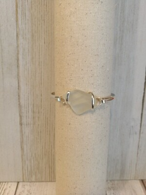 Sea glass bracelet in white