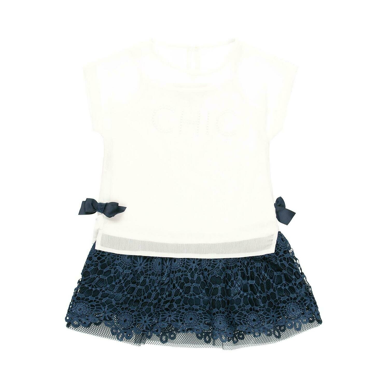 Vestido gasa combinado de niña  BOBOLI