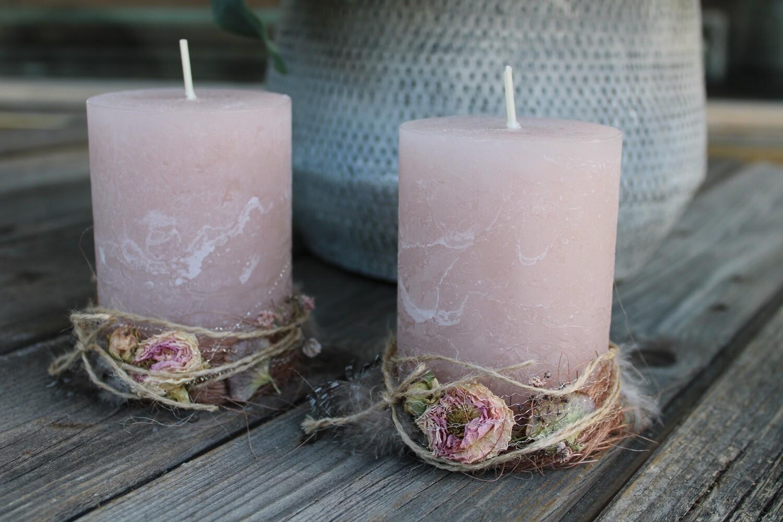 Kerze ausgarniert 7x10cm