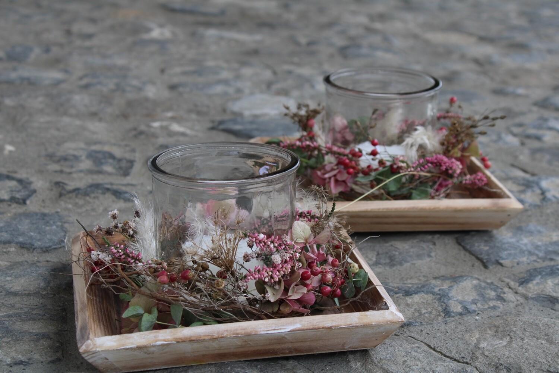 Tableau mit Teelichtglas