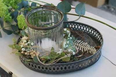 Glas auf Blechtableau, weiss/grün