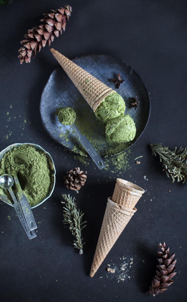 Мороженое Зелёный чай с миндалём