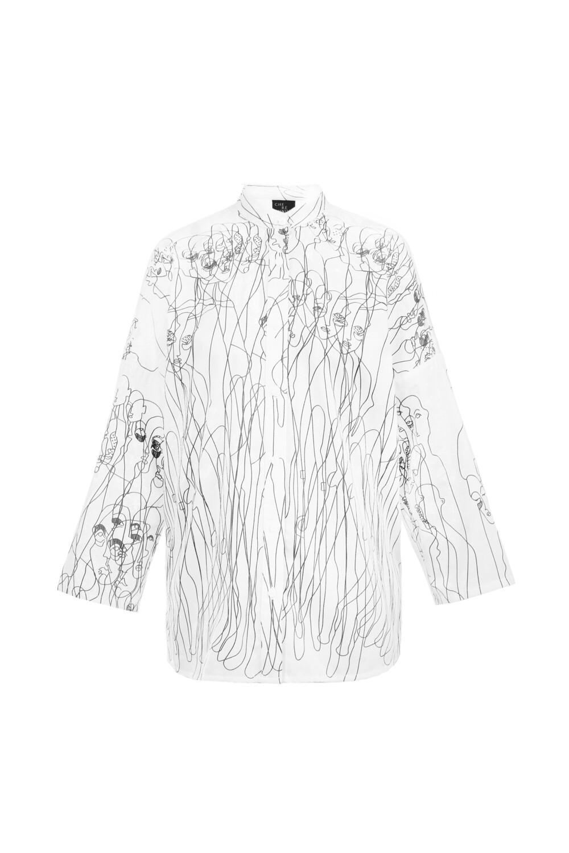 White oversize printed shirt