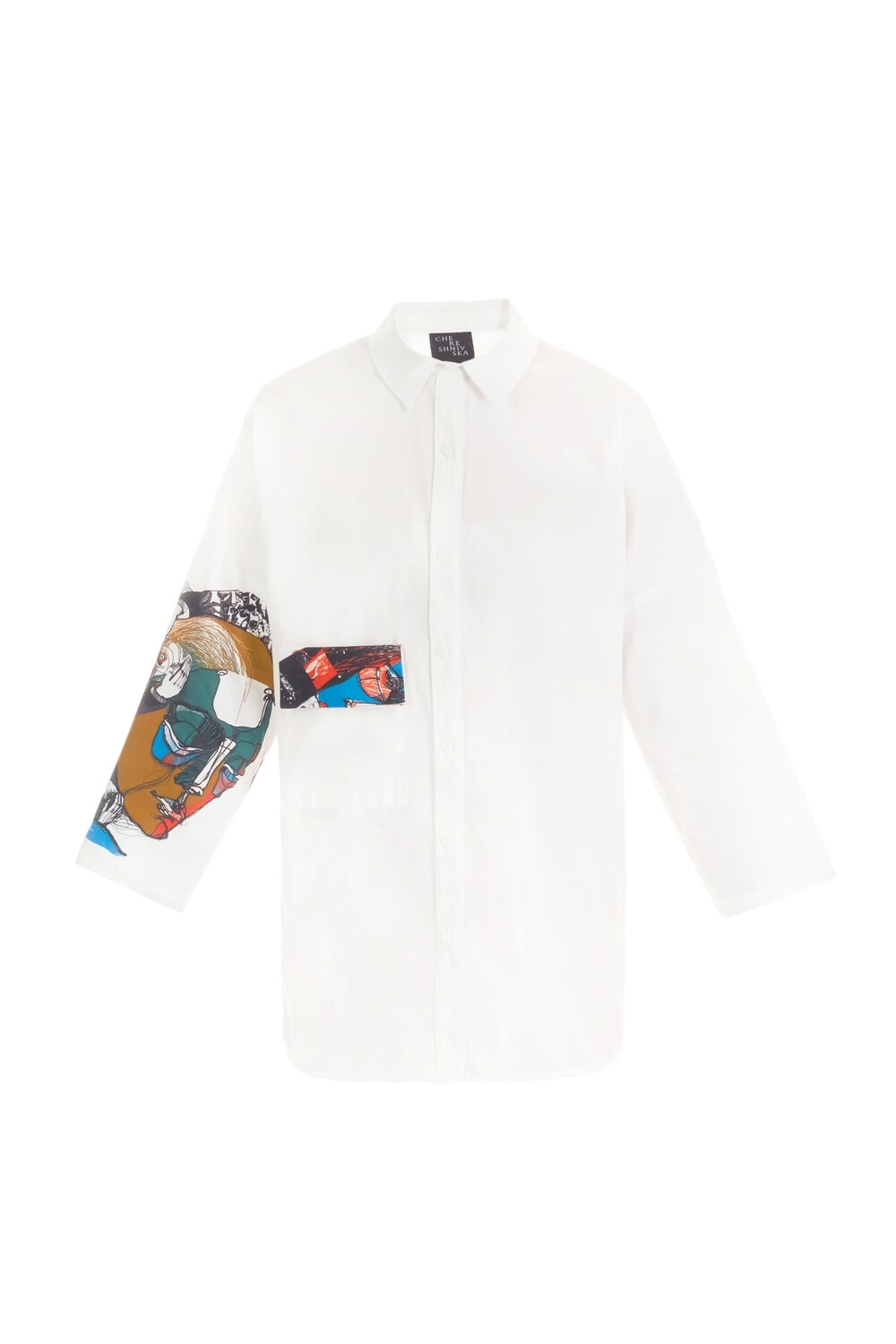 White oversize shirt with a printed sleeve