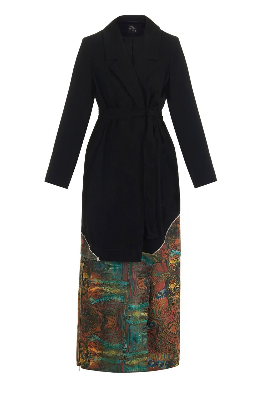 Black trench with a print