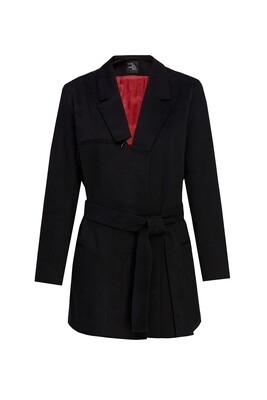 Black jacket with red lining