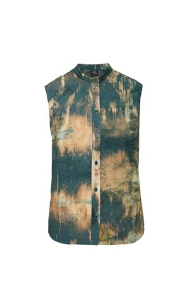 Sleeveless hand dyed shirt