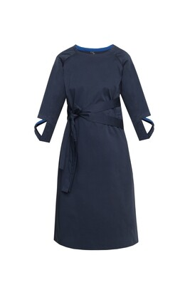 Dark blue dress with printed belt