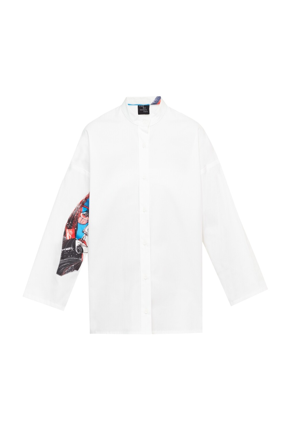 White oversize shirt with a print