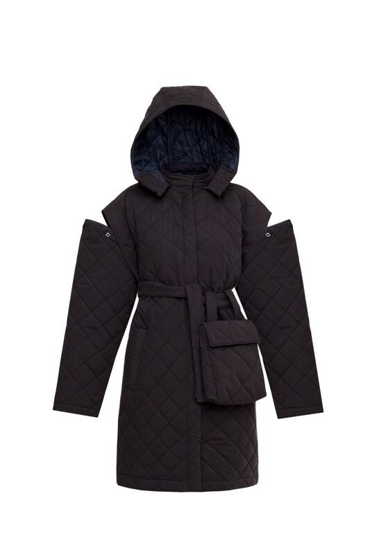Belt quilted coat