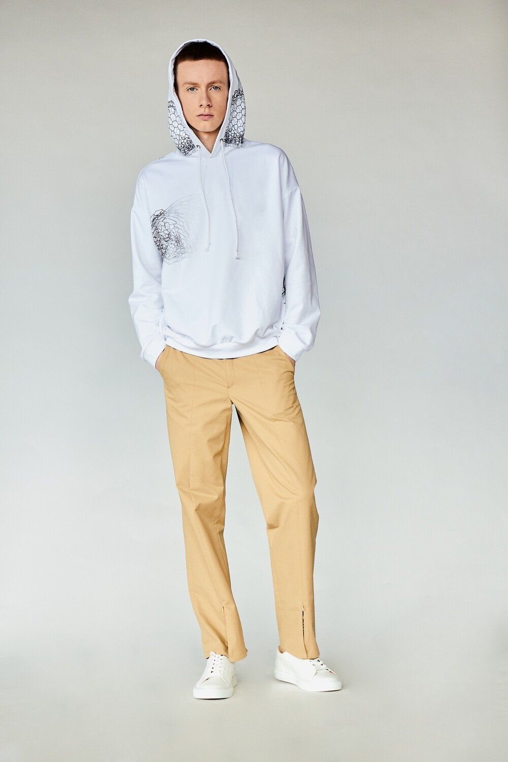 Beige trousers for men