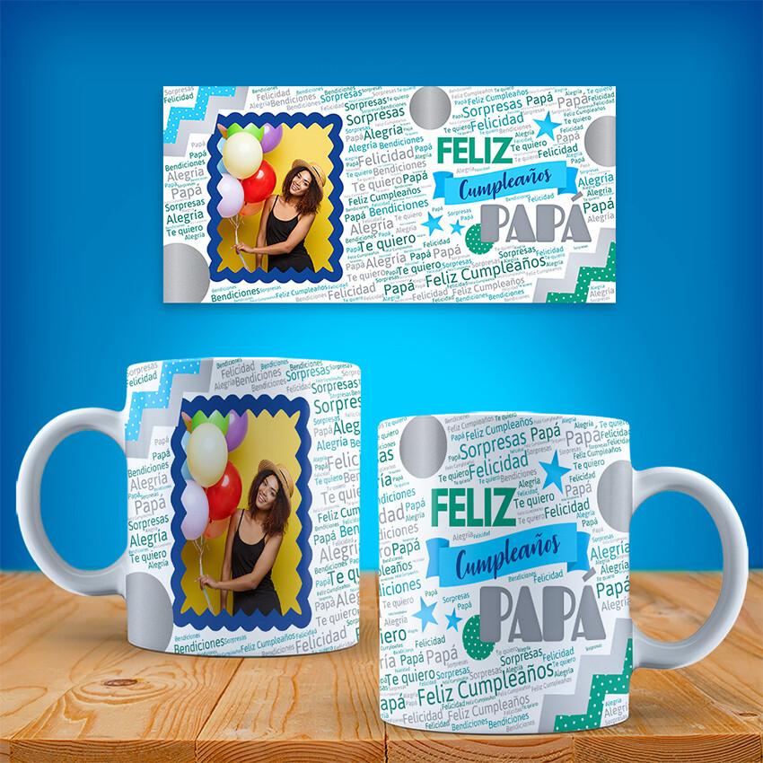Taza FELIZ CUMPLEAÑOS PAPA con foto
