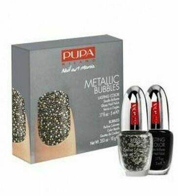PUPA NAIL ART MANIA METALLIC BUBBLES NO. 3 BLACK MULTICOLOR