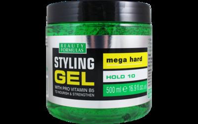 BEAUTY FORMULAS STYLING GEL PRO VITAMIN B5 MEGA HARD (GREEN) 500 ML